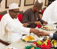 Buhari breaks fast with National Assembly leadership in Aso Rock